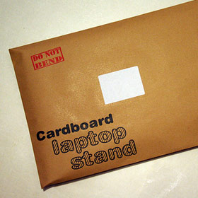 Photo of laptop stand in envelope